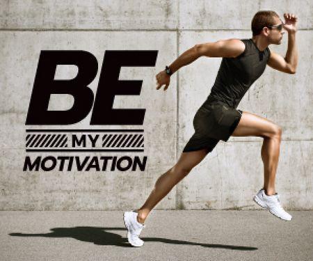 Ontwerpsjabloon van Medium Rectangle van running young man and motivational quote
