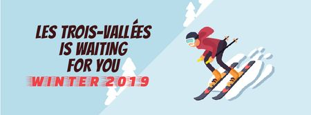 Plantilla de diseño de Skier on a snowy slope Facebook Video cover