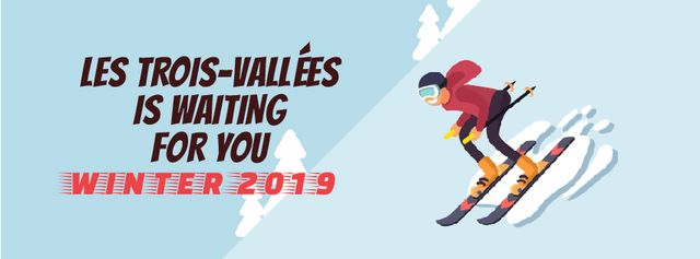 Skier on a snowy slope Facebook Video cover – шаблон для дизайну