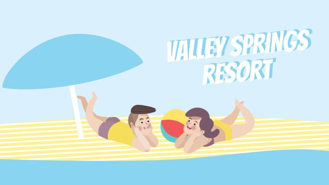 Resort Promotion Couple Resting on Beach Full HD video – шаблон для дизайна