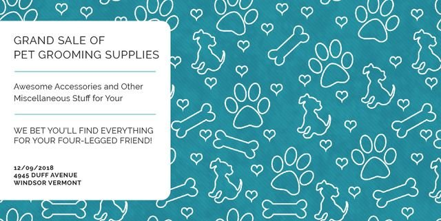 Pet Grooming Supplies Sale with animals icons Image Design Template
