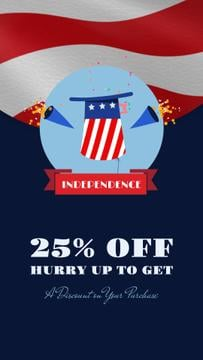 Independence Day Sale Hat and Fireworks | Vertical Video Template