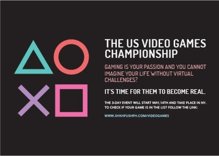Plantilla de diseño de Video Games Championship announcement Postcard