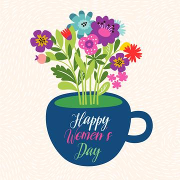 Bouquet of flowers in cup on Women's Day
