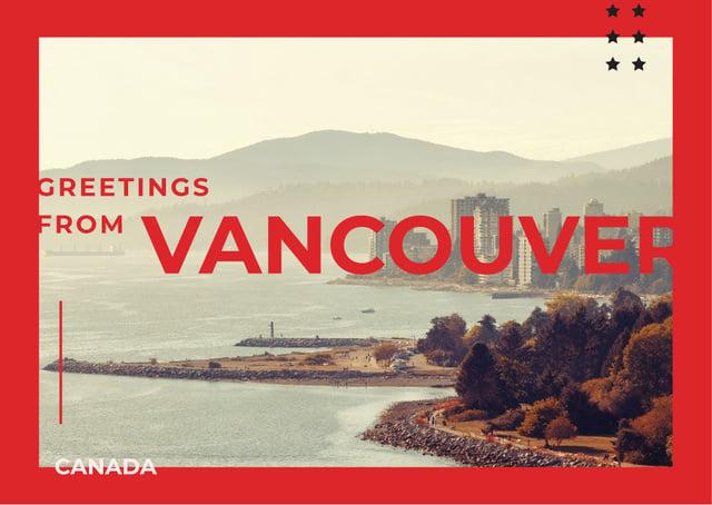 Vancouver city view Postcard Modelo de Design