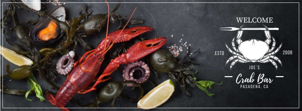 Bar Invitation with Fresh Seafood on Table Facebook cover Design Template