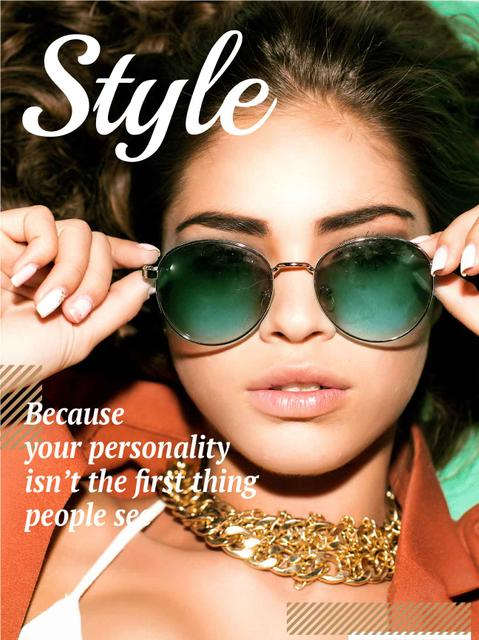 Beautiful stylish woman in sunglasses Poster US Modelo de Design