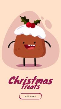 Happy Christmas Pudding | Vertical Video Template