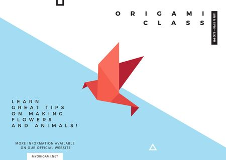 Origami Classes Invitation Paper Bird Postcard Modelo de Design