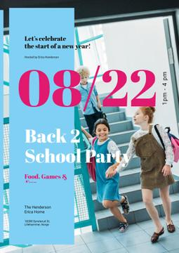 Back to School Party Invitation Kids with Backpacks