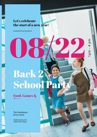 Modèle de visuel Back to School Party Invitation Kids with Backpacks - Poster