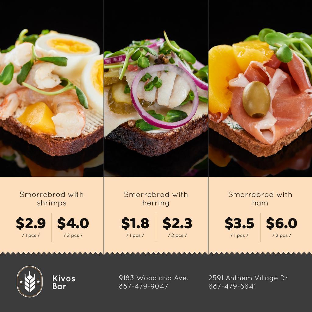 Modèle de visuel Smorrebrod Sandwiches Menu Offer - Instagram