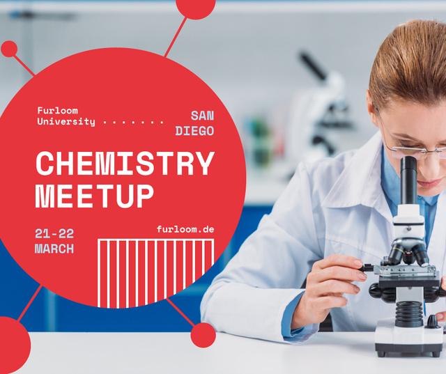 Science Event Announcement Woman with Microscope Facebook Tasarım Şablonu