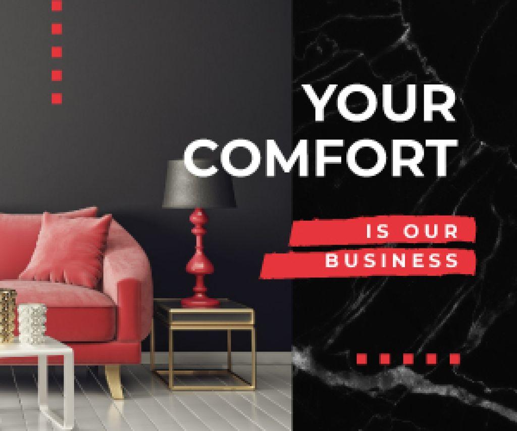 Ontwerpsjabloon van Medium Rectangle van Home Decor Studio Ad Modern Interior in Black