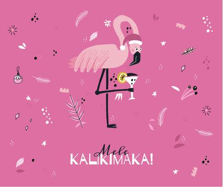 Mele Kalikimaka with party Flamingo Facebookデザインテンプレート