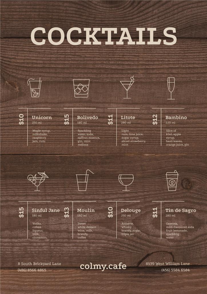Bar Cocktails variety — Crear un diseño
