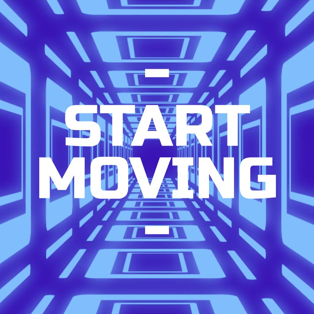 Moving through blue tunnel — Создать дизайн