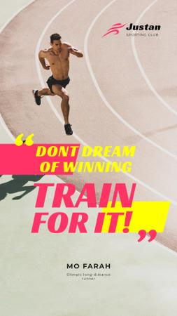 Plantilla de diseño de Sports Quote Man Running at Stadium Instagram Story
