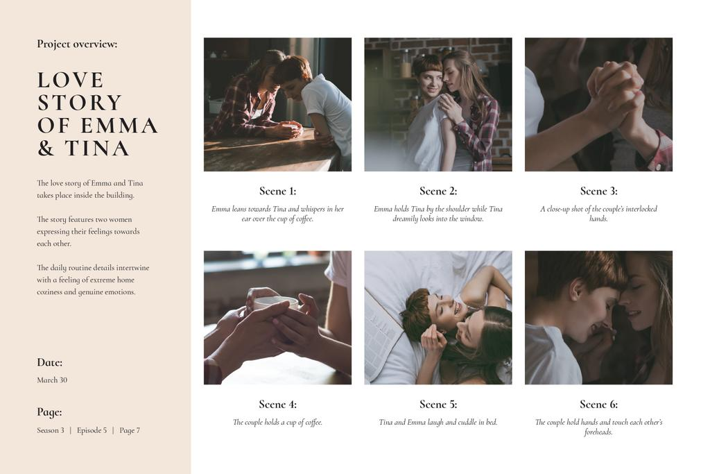 Love Story of Girl Couple in Cafe Storyboard Design Template