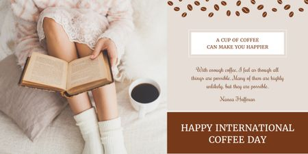 Happy international coffee day poster Image Modelo de Design