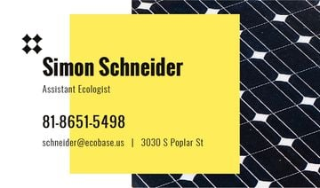 Ecologist Services Ad Solar Panel Surface | Business Card Template