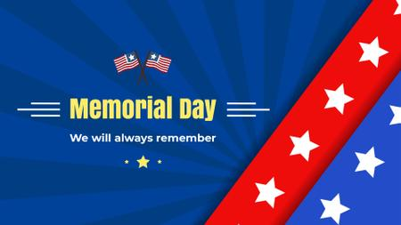 Template di design USA Memorial Day greeting with Flag Full HD video