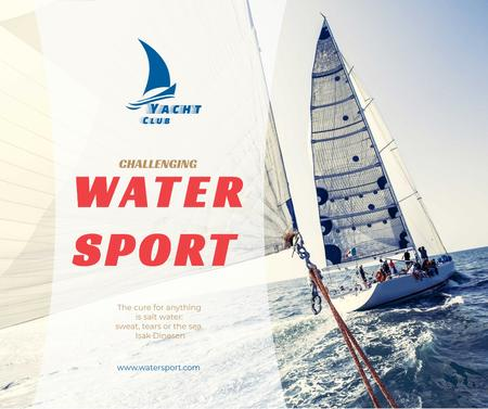 Designvorlage Water Sport Yacht Sailing on Blue Sea für Facebook