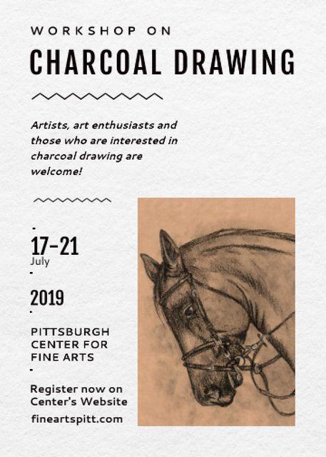 Ontwerpsjabloon van Invitation van Drawing Workshop Announcement Horse Image