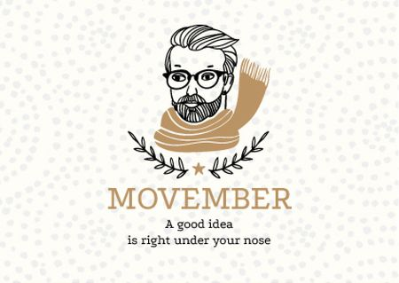 Movember Announcement with Man with moustache and beard in Scarf Postcard Modelo de Design