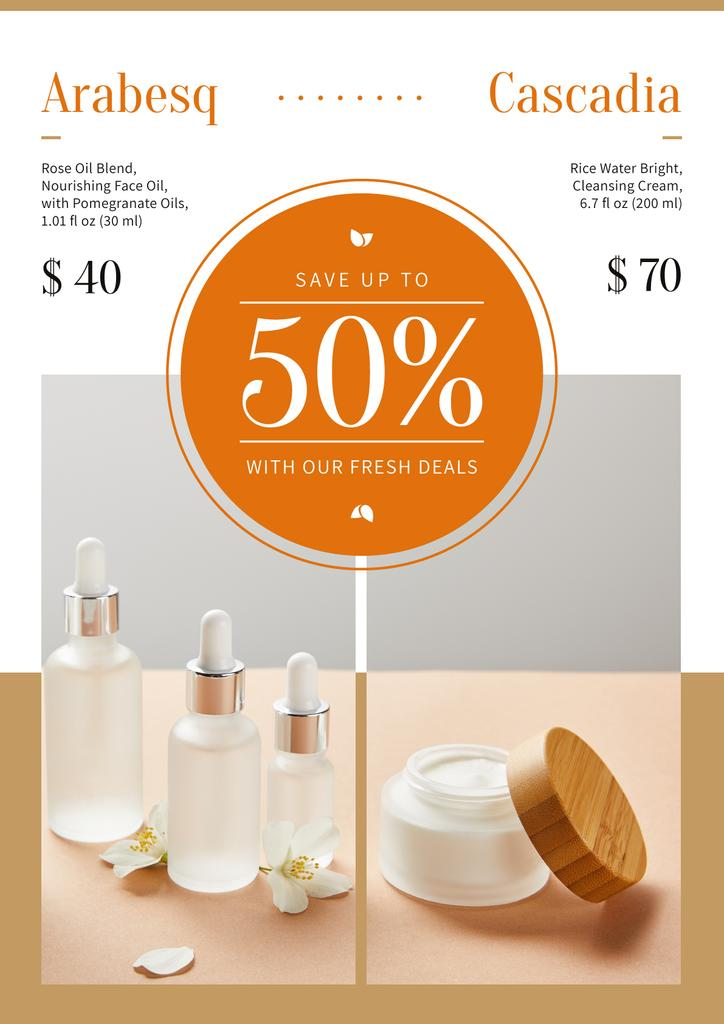Cosmetics Ad with Skincare Products Bottles — Crear un diseño