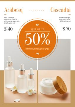 Cosmetics Ad Skincare Products Bottles | Poster Template