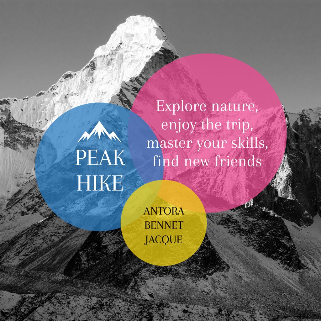 Hike Trip Announcement Scenic Mountains Peaks — ein Design erstellen