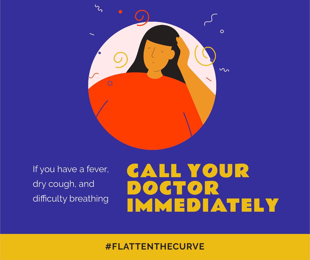Modèle de visuel #FlattenTheCurve Coronavirus symptoms with Ill Woman - Facebook