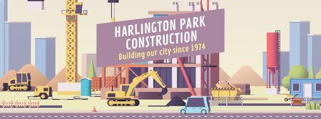 Szablon projektu Crane and cars on construction site Facebook Video cover