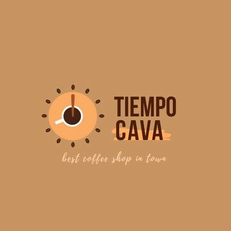 Coffee Shop Ad with Clock and Coffee Cup Animated Logo Modelo de Design