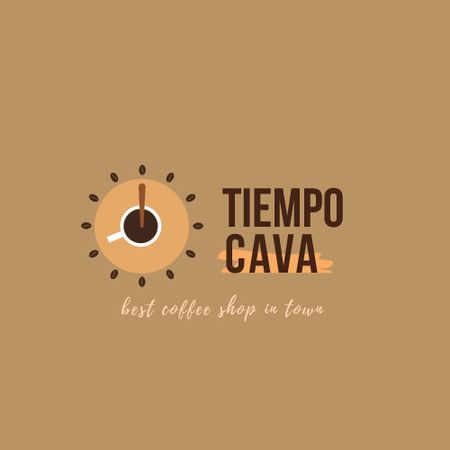 Coffee Shop Ad with Clock and Coffee Cup Animated Logo Tasarım Şablonu