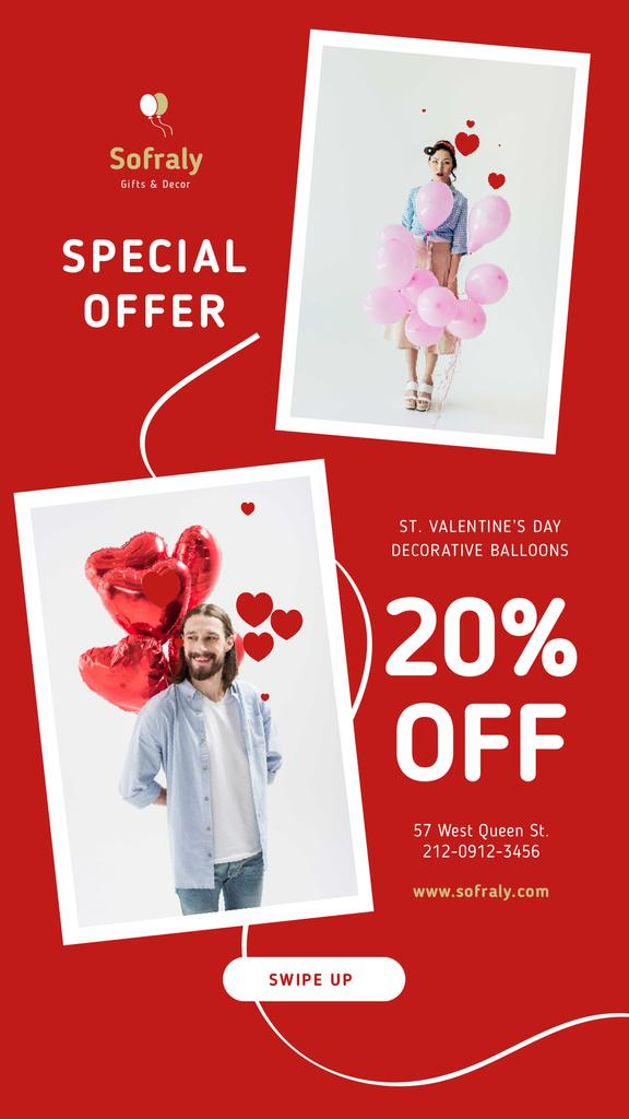 Valentine's Day Couple with Balloons in Red — Maak een ontwerp