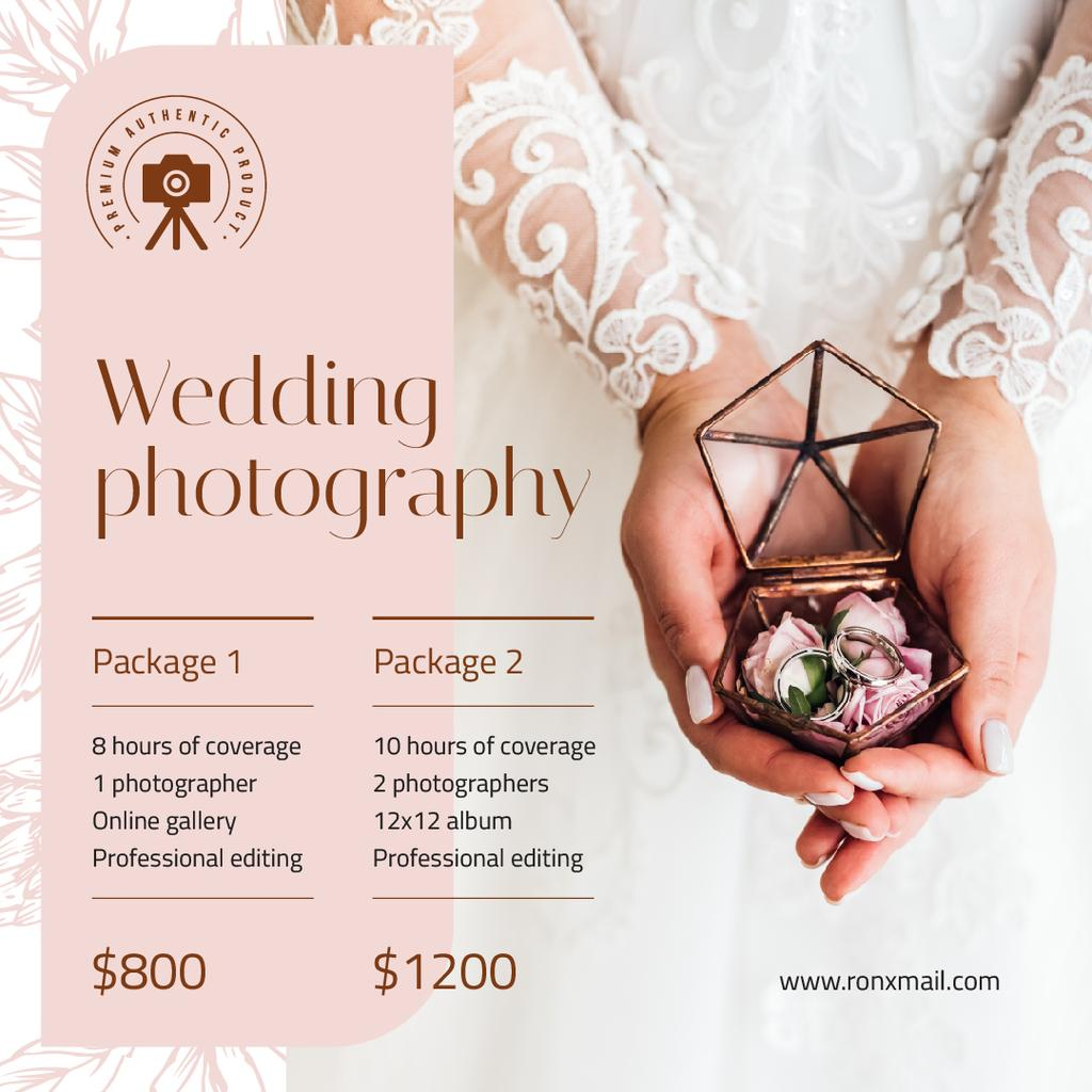 Wedding Photography Services Ad Bride Holding Rings Instagram Design Template