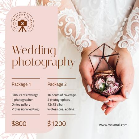 Szablon projektu Wedding Photography Services Ad Bride Holding Rings Instagram
