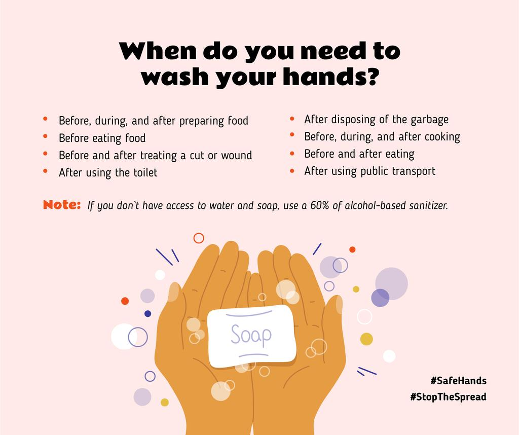#SafeHands Coronavirus awareness with Hand Washing rules — Créer un visuel