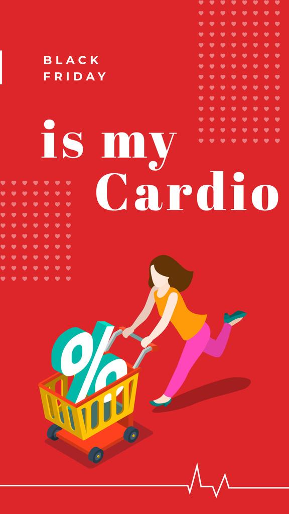 Black Friday Ad Woman pushing shopping cart — Створити дизайн