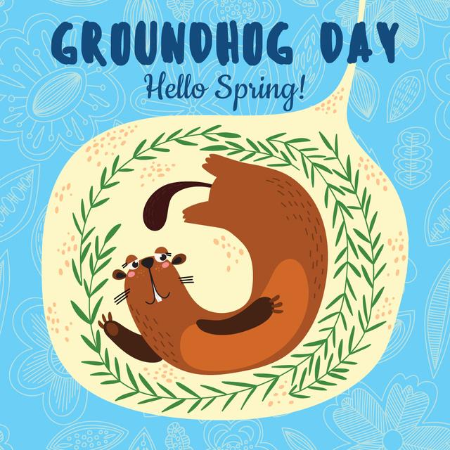 Ontwerpsjabloon van Instagram AD van Cute funny animal on Groundhog Day