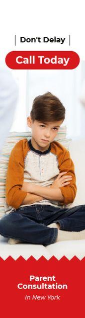 Parenting Consultation Invitation Serious Boy Sitting Skyscraper Design Template