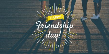Friendship Day Greeting Young People Together Image Design Template