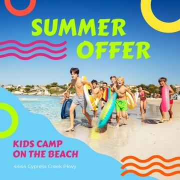 Summer Camp Invitation with Kids on Beach | Instagram Post Template