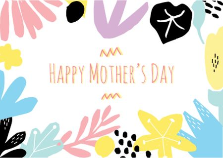 Plantilla de diseño de Happy Mother's Day Greeting in Colourful Floral Frame Postcard