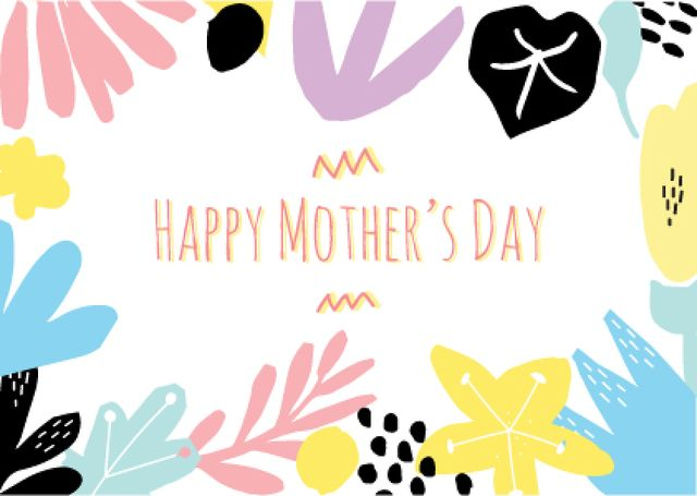 Happy Mother's Day Greeting in Colourful Floral Frame Postcardデザインテンプレート