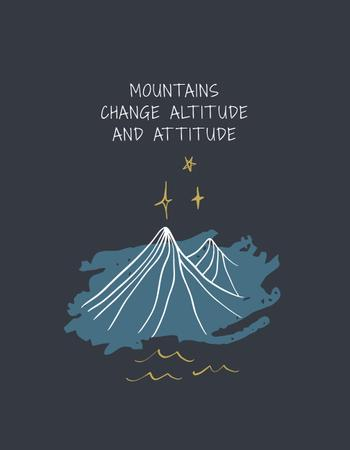 Inspirational Quote with Mountains illustration T-Shirtデザインテンプレート