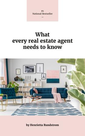Real Estate Tips Cozy Interior in Pink Colors Book Cover Modelo de Design