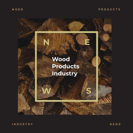 Pile of wooden logs Instagram Design Template